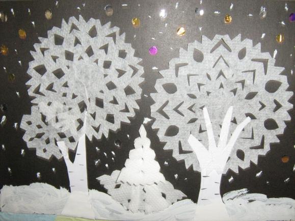 Черно белая фотография зимней тайги