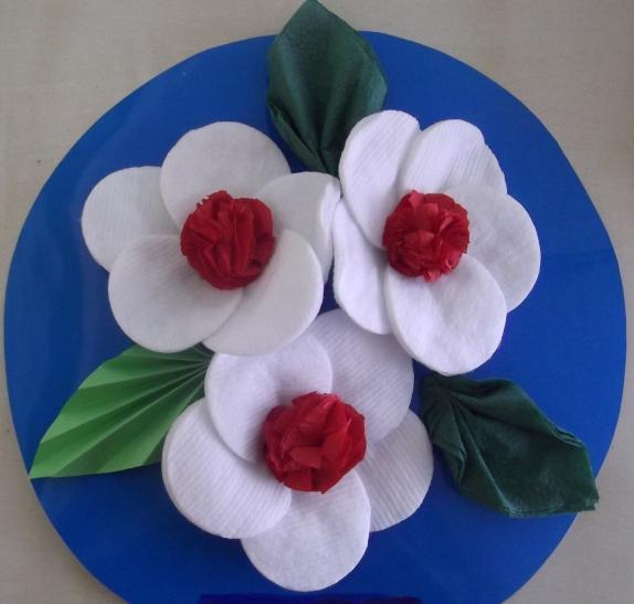 Цветы из ватных дисков для детей 8-9 лет пошагово