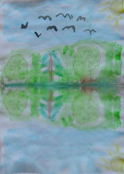 Картинки мужчинам, картинки монотипия пейзаж весна