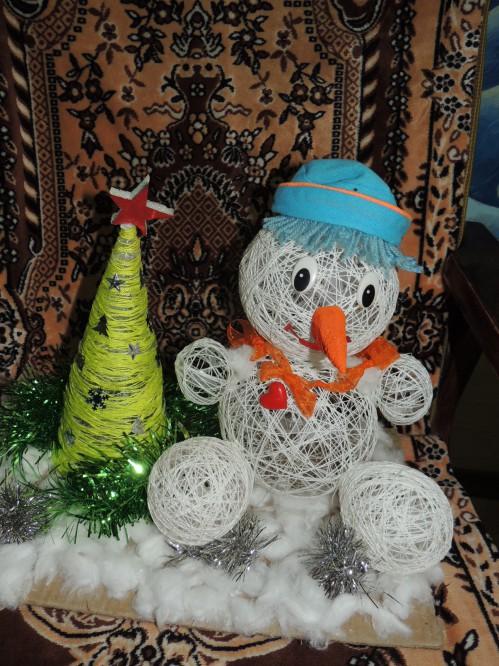 Весёлый снеговик поделка 22