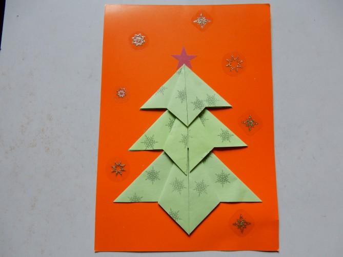 Поздравление лет, открытка елочка новогодняя оригами
