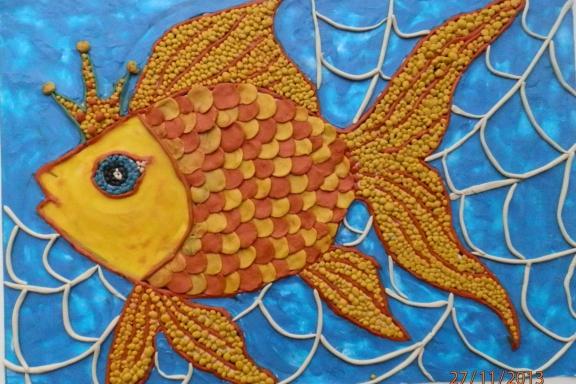 Поделка золотой рыбки 53