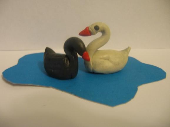 Как сделать лебедя из пластилина