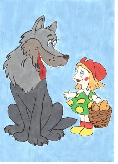 Картинки рисунки из сказки красная шапочка того