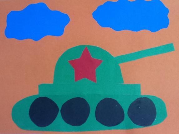 Шаблон танка для открытки аппликация 2 младшая группа