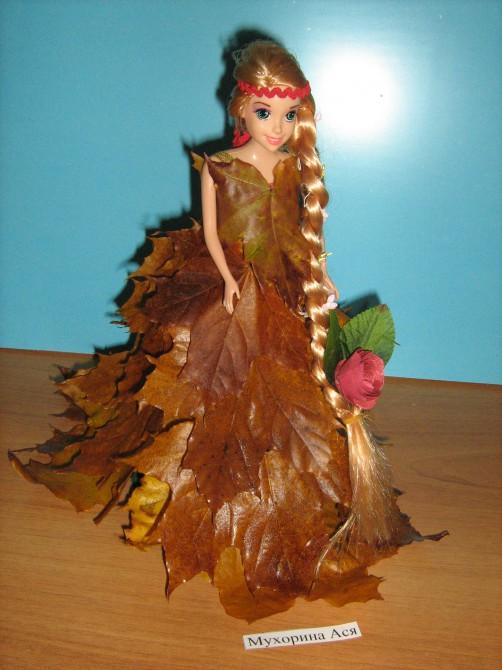 Осенние поделки кукла с листьями 67