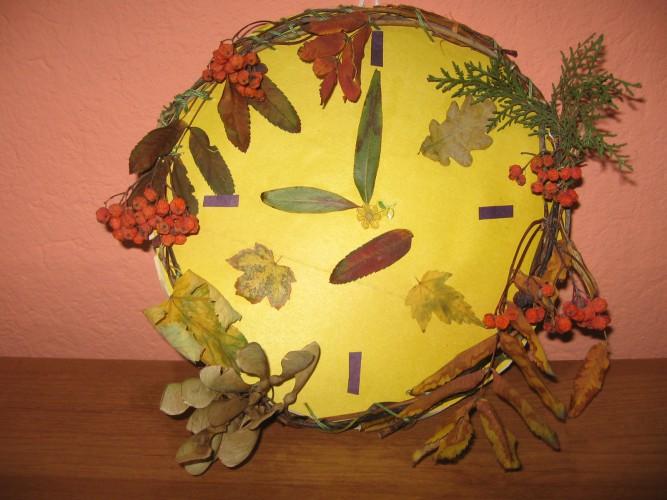 Поделка часы из природного материала на тему часы 71