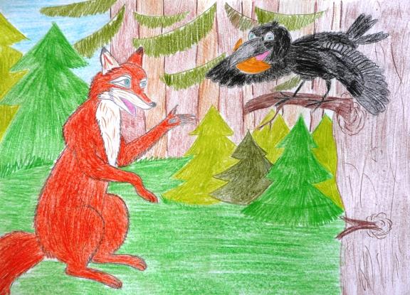 Рисунок к басне крылова ворона и лисица простым карандашом