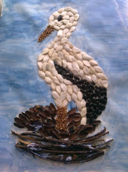 Поделка аист из семечек тыквы 24