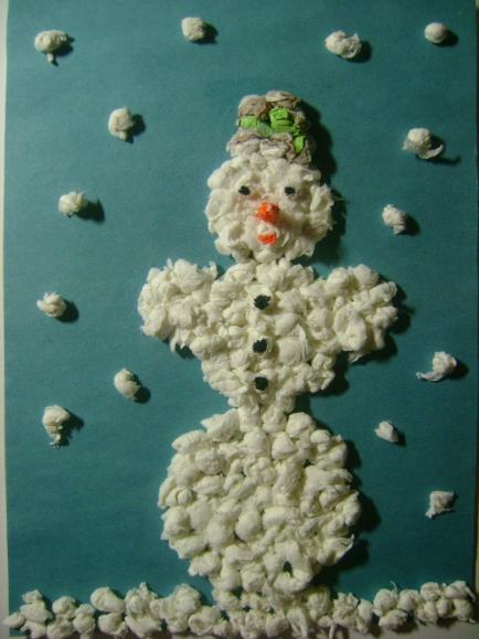 Поделка снеговик из салфеток