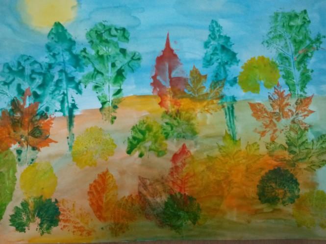 Детские рисунки о осени схема