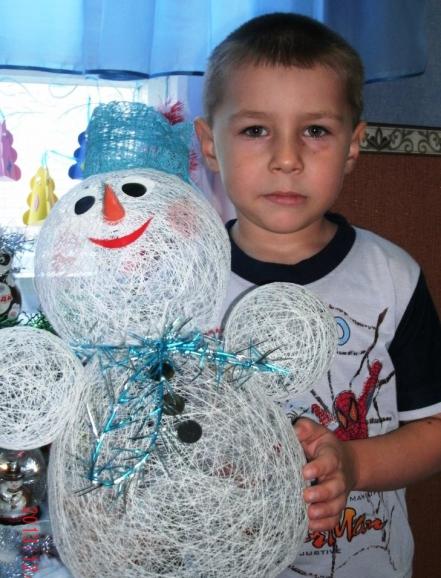 как сделать снеговика из пряжи