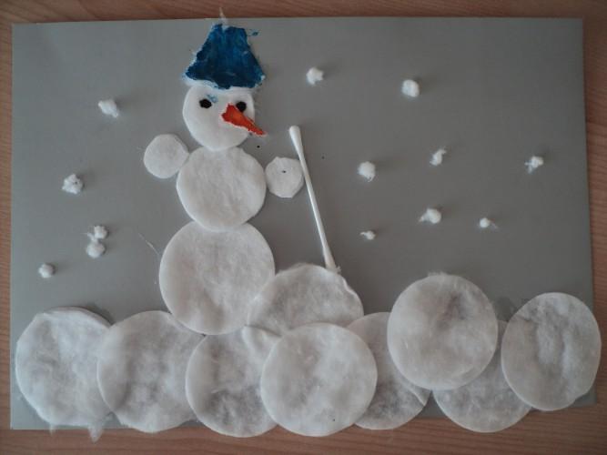 фотографировании картинка из ватного диска снеговик мдф
