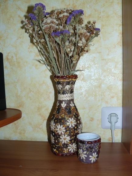 Сделать вазу из природного материала