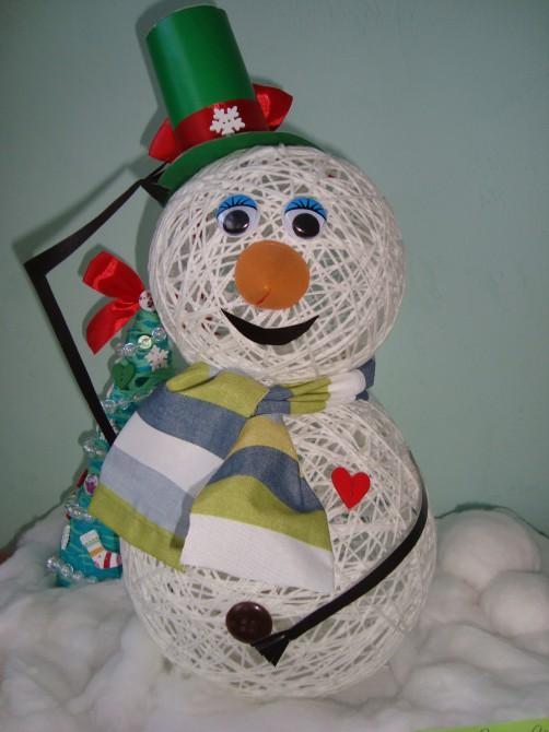 Весёлый снеговик поделка 37