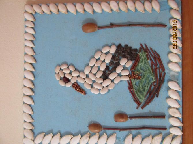 Поделка аист из семечек тыквы 55