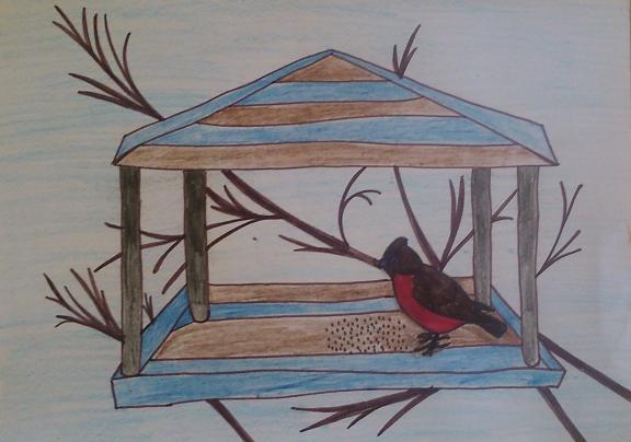 Кормушка с птичкой рисунок