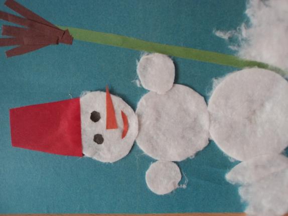 Снеговик из ватных дисков своими руками пошаговое фото