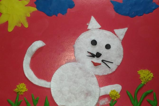 Поделки из ватных дисков кошка 47