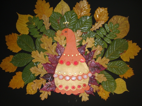 Поделка из листьев птицу 646