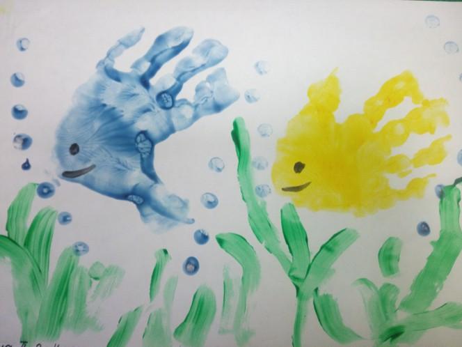 Картинки рисование рыбки ладошкой как путешествую