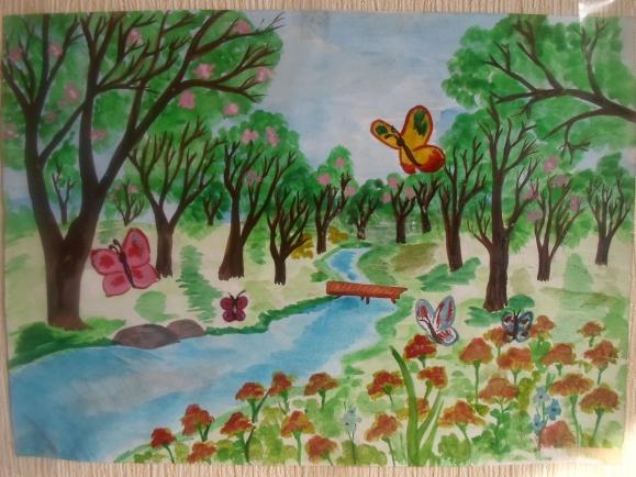 может рисунок лесная поляна красками предприятии