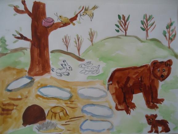 Рисунок животные весной
