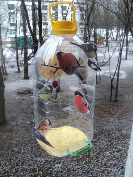 Как сделать кормушку из бутылки для птиц фото