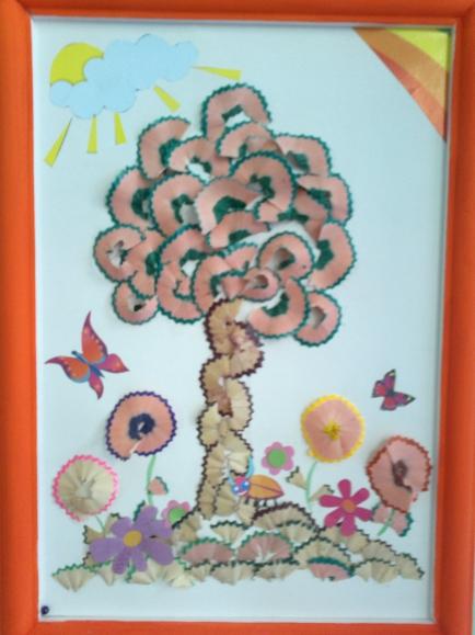 картинки аппликация дерево из карандашной стружки модельного ряда достигается