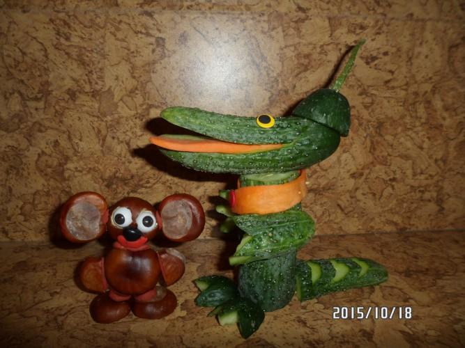 Крокодил гена и чебурашка поделки из овощей