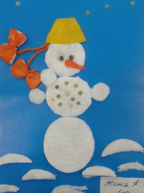 Открытка из ватных дисков своими руками снеговик, февраля фото открытку