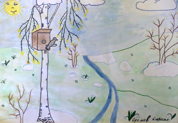 весенний день рисунки карандашом