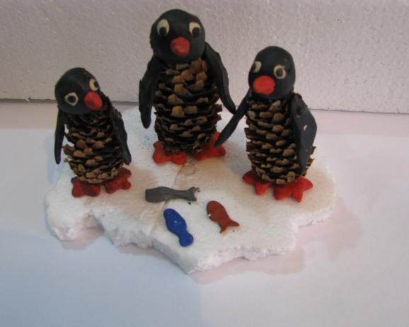 Поделки из природного материала пингвины