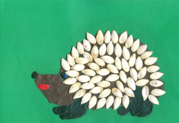 Поделки и пластилина и семечек