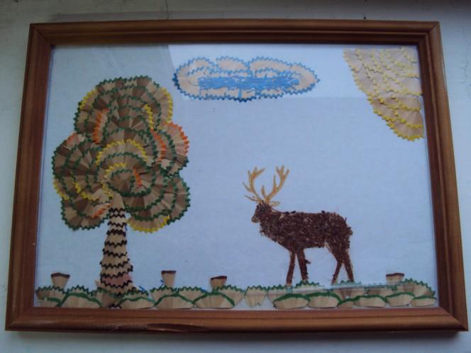 Картинки аппликация дерево из карандашной стружки