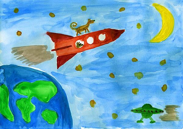 Детские рисунки космос