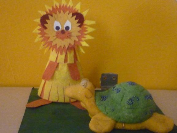 Поделка черепаха и львёнок