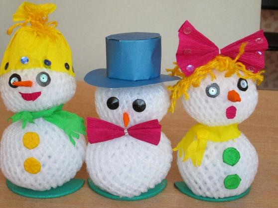 Как сделать мандарин снеговик