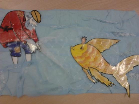 Что за чудо эти сказки!  Аппликация по сказке А.  С.  Пушкина «Сказка о рыбаке и рыбке».