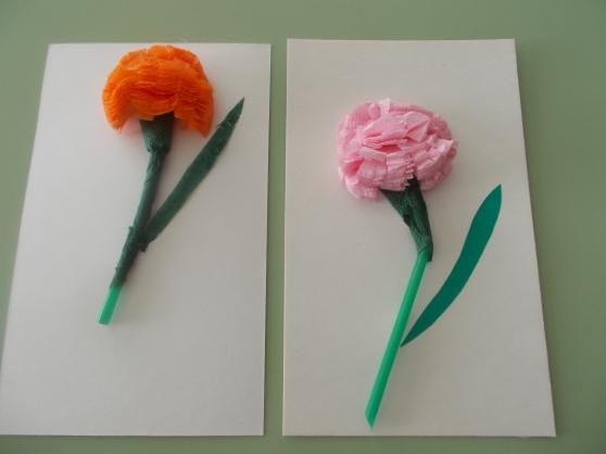 как сделать гвоздику из салфетки для открытки картинки