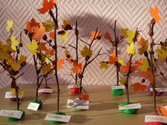Поделка из природного материала на тему осень дерево 31