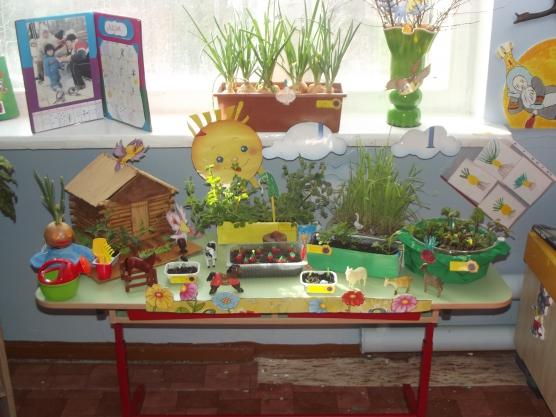 как оформить подоконник огород в детском саду