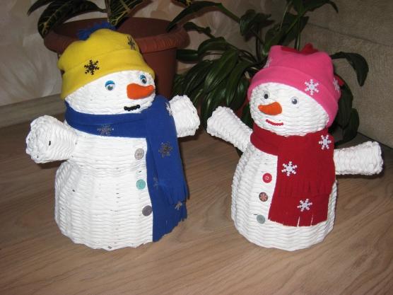 Снеговик из газеты своими руками
