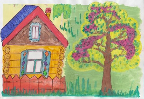 рисунок детского деревянного домика