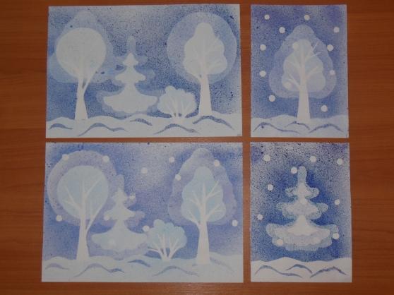 """Зимний лес "" - рисование в технике ""Набрызг ""."