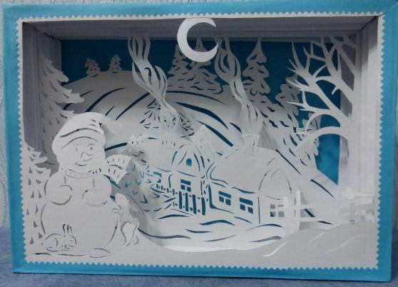 «Зимняя деревенька» в технике Tunnel book