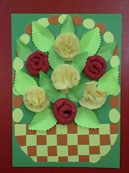 День музики, открытка из бумаги корзина с цветами из