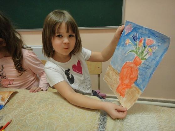 Конспект занятия по ИЗО для старшей группы на тему «Букет для мамы» акварельными карандашами.