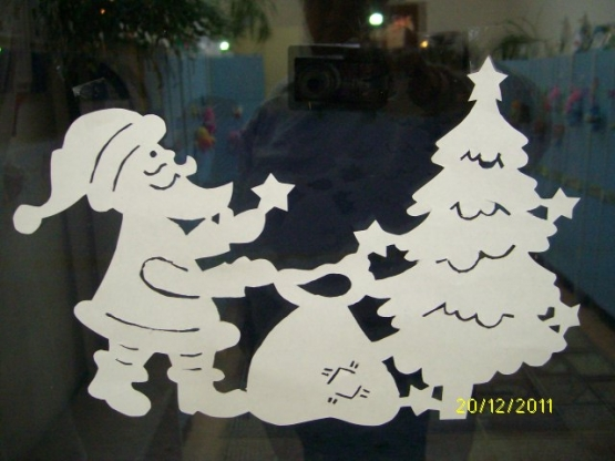 Вытанки шаблоны на окна дед мороз