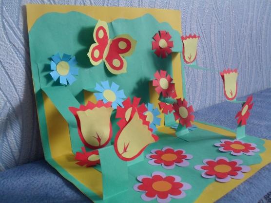 Прикольные хорошего, 3-д открытка полянка с цветами к 8 марта своими руками